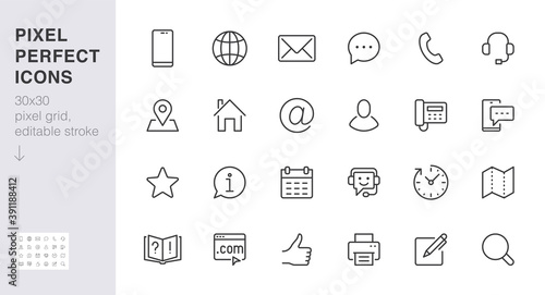Fototapeta Contact us line icon set. Feedback, customer service, phone, email address, web site minimal vector illustration. Simple outline sign business card, landing page. 30x30 Pixel Perfect Editable Stroke obraz