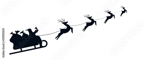 Slika na platnu Santa Sleigh Silhouette illustration of Santa Claus in his sleigh flying through the sky being pulled by his reindeer
