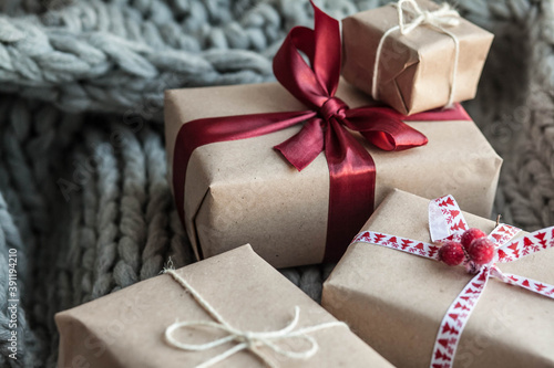 Eco-friendly gift boxes Christmas and New Year decor Fototapet