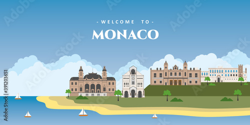 Panoramic view of Monaco with architectural building landmarks. Welcome to Monaco postcard. Travel and safari concept. European world travel sightseeing vacation vector illustration