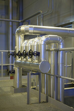 Industrial Pipes And Valves In A Power Plant