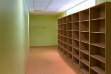 Storage Room With Cubby Holes, Pigeonholes, Mailbox Shelves