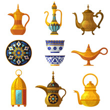 Old Arabic Heritage. Traditional Cultural Decorated Pottery With Logos Saudi Symbols Vector Arabia Set. Illustration Arabic Pottery, Clay Traditional Antique