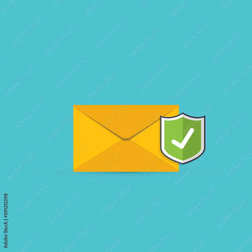 Fototapeta Email security concept, e-mail envelope with shield icon.