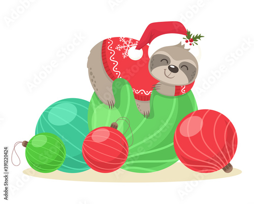 Fototapeta premium An adorable sloth in a Santa hat and a sweater sleeps on Christmas balls. Vector illustration.