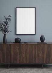 Panel Szklany Berlin Mockup poster frame in modern interior background, 3d render