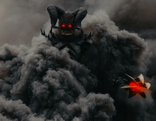 Mutant Warrior Stands And Holds Mace Against A Background Of Black Smoke.