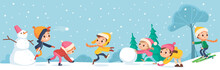 Children Building Snowman Together And Having Snowball Fight In Forest During Snowfall. Kids Jumping, Running And Throwing A Snowball. Kids Making A Snowballs. Little Boy Skiing Down The Hill.
