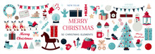 Huge Set Of Christmas Icons And Elements. Fifty Christmas Images For Decorating Cards, Ads, Banners, Flyers, And Invitations. Cute Illustrations In Flat Design For Christmas Eve And New Year