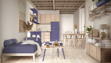 Cosy Wooden Sustainable Living Room And Kitchen In Purple Tones With Bamboo Ceiling. Sofa, Shelves, Dining Table, Chairs. Ceramic Tiles Floor. Environmental Friendly Interior Design
