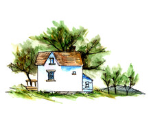 Country House Hand Drawn Watercolor