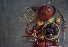 Composition, Vintage Flowers, Autumn Still Life, Harvest, Design, Art Photo, August, Autumn, Background, Blue Color, Blue Fabric, Close Up, Closeup, Copy Space, Cotton, Crochet, Dark, Decoration, Deco