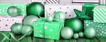 Green Christmas Gifts And Deco...
