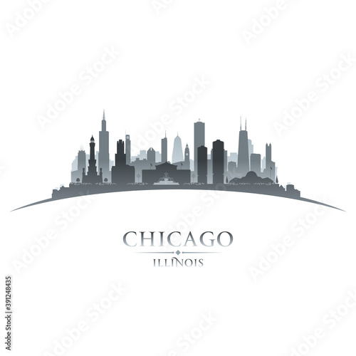 Chicago Illinois city silhouette white background Wallpaper Mural
