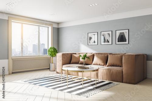Obraz na plátně Modern living room interior with sofa