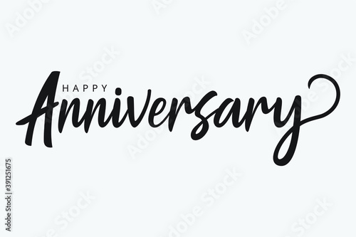 isolated handwritten of happy anniversary with black color Fototapeta