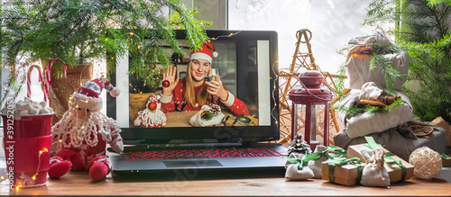 Photo Christmas online holiday remote celebration X mas new year in lockdown coronavir