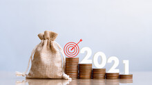 2021 And Coins In Sack With Small Plant Tree. Pension Fund, 401K, Passive Income. Investment And Retirement. Business Investment Growth Concept. Risk Management. Budget 2021.