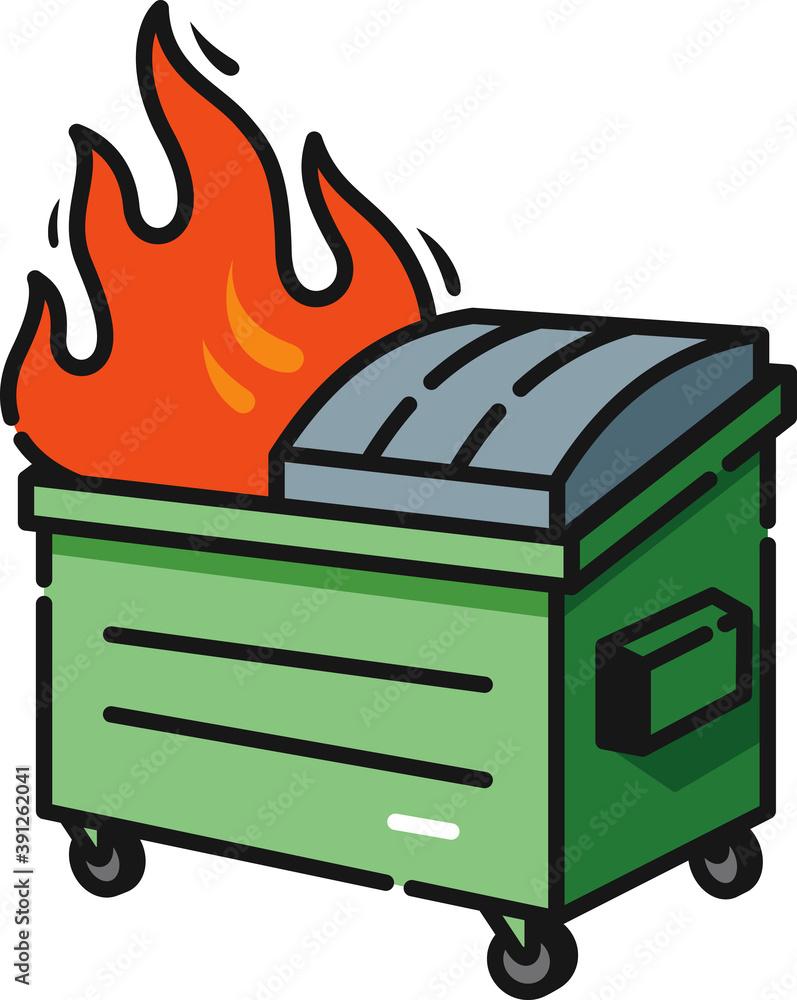 Fototapeta Dumpster Fire Filled Outline Icon