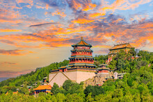 Imperial Summer Palace In Beijing At Sunset,China.