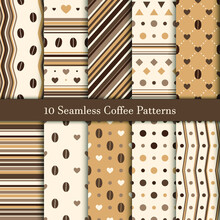 Ten Seamless Patterns In Coffee Hues For Web Background, Vector