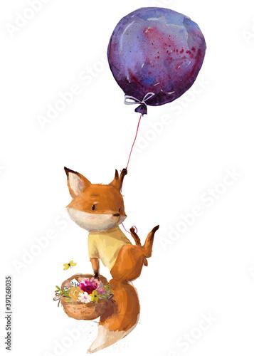 Fototapeta premium cartoon cute fox fly with balloons