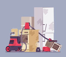 Electrical Appliances Disposal, Amount Of Used E-waste Piled. Damaged And Destroyed Broken Household Devices Trash, Domestic Waste Materials, Junk, Rubbish Heap. Vector Flat Style Cartoon Illustration
