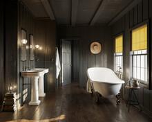 3d Western Rustic Vintage Bathtoom With Vintage Barhtub And Double Vanities