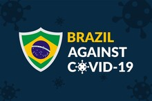 Brazil Against Covid-19 Campaign - Vector Flat Design Illustration : Suitable For World Theme, Health / Medical Theme, Humanity Theme, Infographics And Other Graphic Related Assets.