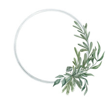 Watercolor Frame With Winter Plants And Leaves In Green Color. Gently Wreath With Pine Cone, Fir, Eucalipt, Berries, Mistletoe. Elegant Invitation For Wedding, Business Card, Discount, Promotions