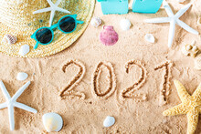 2021 Text In The Sand With Beach Accessories