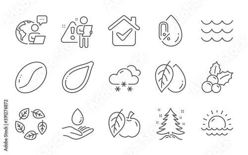 Fotografia Water care, Organic tested and Snow weather line icons set