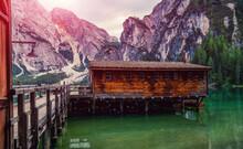 Lago Di Braies, Italy. Panoram...