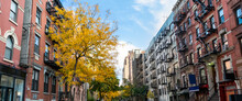 Panoramic View Of Historic Buildings Along 15th Street With Colorful Fall Trees In The Chelsea Neighborhood Of New York City