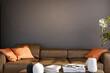 Leinwandbild Motiv Large luxury modern minimal bright interiors room mockup illustration 3D rendering