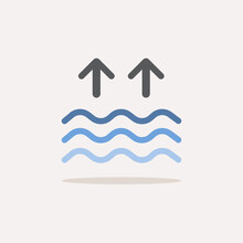 High Tides. Waves On The Sea. Color Icon With Shadow. Weather Vector Illustration