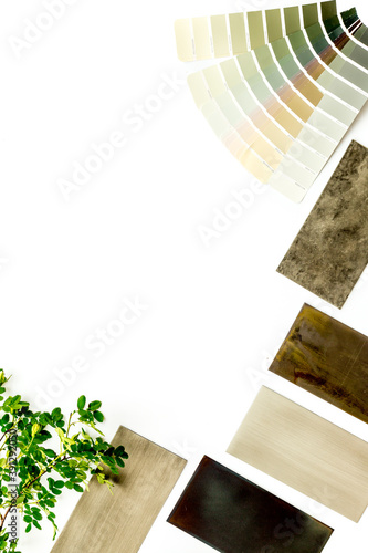Design project with stoneware and marble wooden samples for kitchen interior Fotobehang