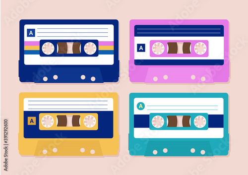 Fotografia Vector cassettes - a set of four cassette tapes in different colour