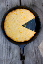 Corn Bread With Farmers Cheese On Frying Pan