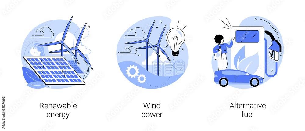 Fototapeta Clean energy abstract concept vector illustration set. Renewable energy, wind power, alternative fuel, solar panels, green electricity, charging station, light bulb, windfarm abstract metaphor.