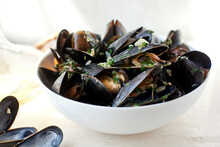 Close Up Of Steamed Mussels Wi...