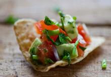 Close Up Of Tomato And Avocado...
