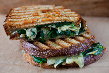 Panini Sandwich With Artichoke Hearts, Spinach And Red Bell Peppers