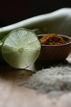 Close Up Of Lime Slice And Spice