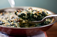 Close Up Of Baked Dish With Swiss Chard And Spinach