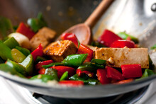 Close Up Of Tofu And Peppers S...