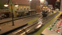 Miniature Retro Burgstein Railway Station. Control Panel And Toy Railroad.