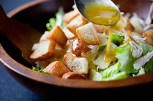 Close Up Of Bowl With Chicken Caesar Salad