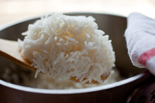Close Up Of Steamed Long Grain...