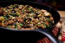 Close Up Of Pan With Stuffing